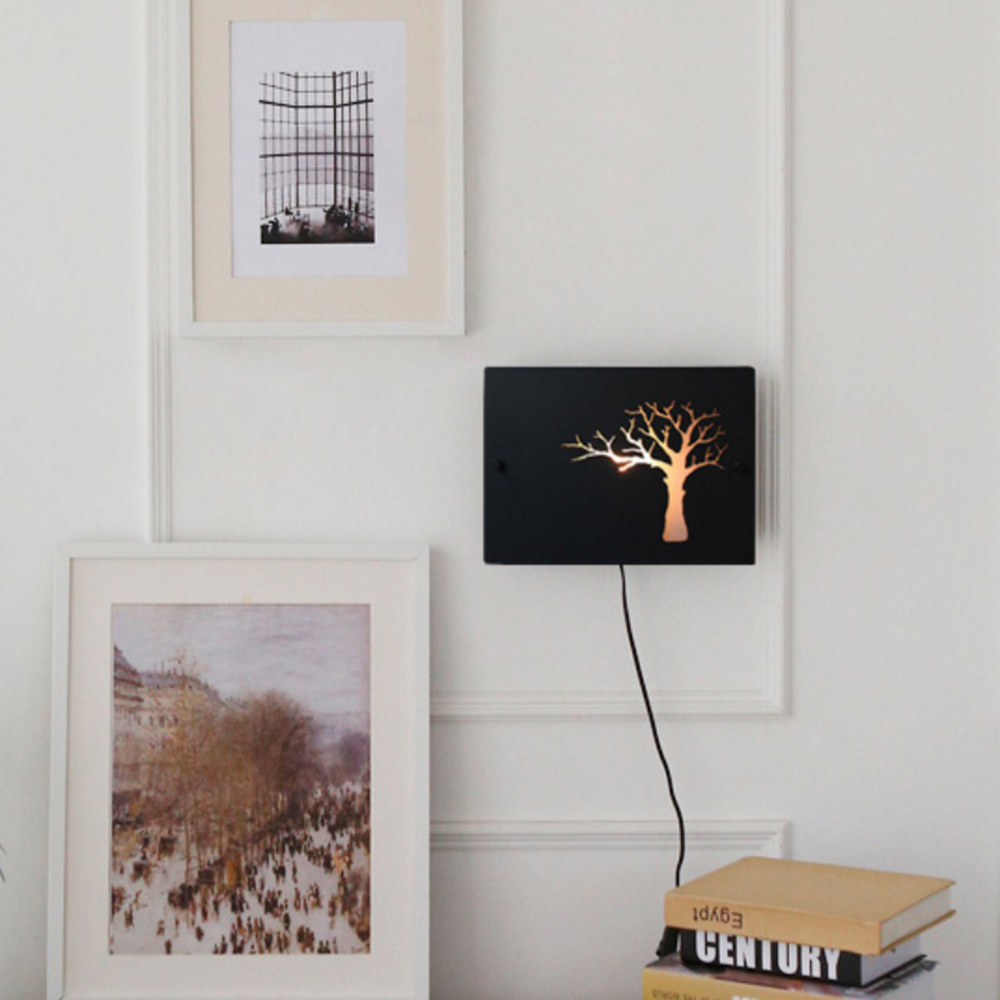 나무 벽걸이 스탠드-블랙